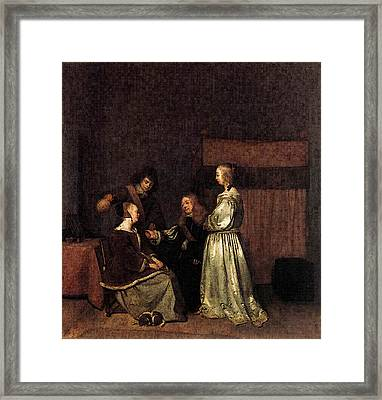 Terborch Gerard The Visit Framed Print by Gerard ter Borch