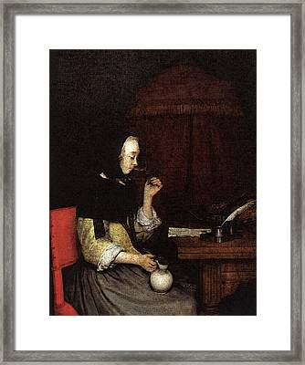Terborch Gerard Woman Drinking Wine Framed Print by Gerard ter Borch