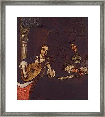 Terborch Gerard Woman Playing The Lute Framed Print by Gerard ter Borch