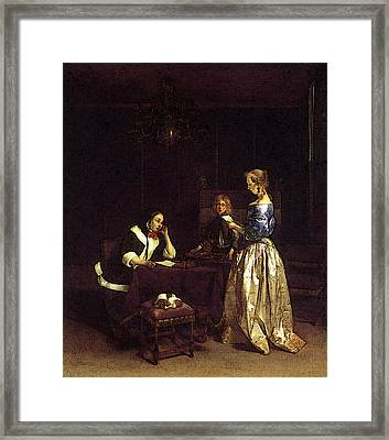 Terborch Gerard Woman Reading A Letter Framed Print by Gerard ter Borch