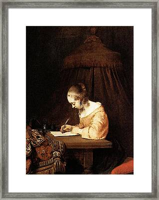 Terborch Gerard Woman Writing A Letter Framed Print by Gerard ter Borch