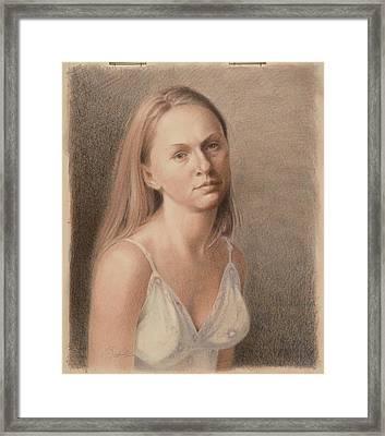 Teresa In Sun Dress Framed Print by Todd Baxter