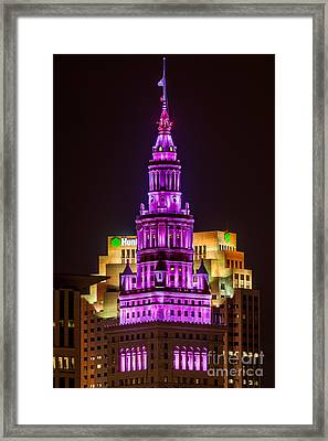 Terminal Tower Tribute To Prince Framed Print by Frank Cramer
