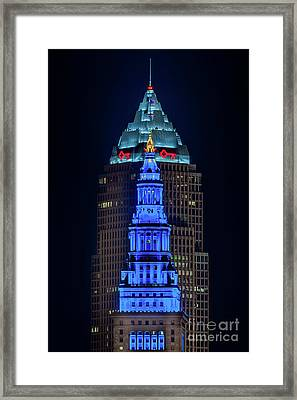 Terminal Tower Tribute To Texas Framed Print by Frank Cramer