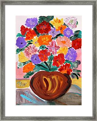 Terra Cotta And Mixed Bouquet Framed Print by Mary Carol Williams