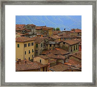 Terra-cotta Roofs Barga Vecchia Italy Framed Print by Nicola Fiscarelli