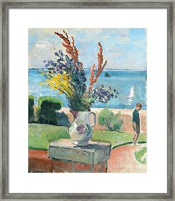 Terrace By The Sea Framed Print by MotionAge Designs
