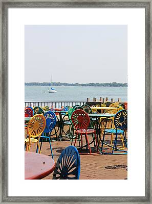 Terrace Chairs Framed Print