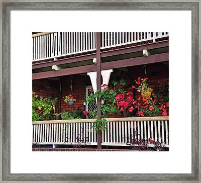 Terrace House With Flowers 2 Framed Print by Kaye Menner