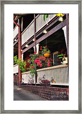 Terrace House With Flowers Framed Print by Kaye Menner