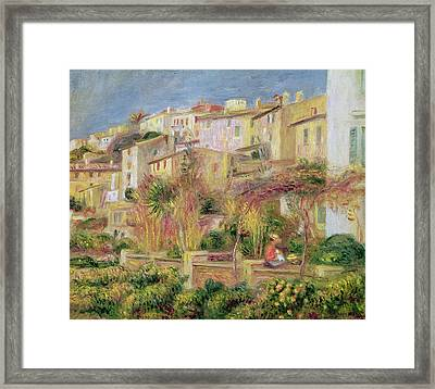 Terrace In Cagnes Framed Print by Pierre Auguste Renoir