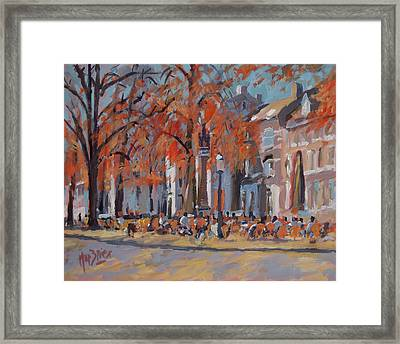 Terrace In The Grand Tanners Street Maastricht Framed Print by Nop Briex