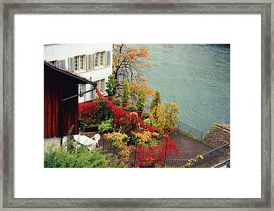 Terrace Overlooking The Limmat River In Zurich Switzerland Framed Print
