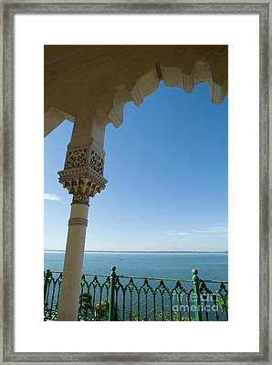 Terrace With A View Of The Sea On Top Of The Palacio De Valle Framed Print by Sami Sarkis