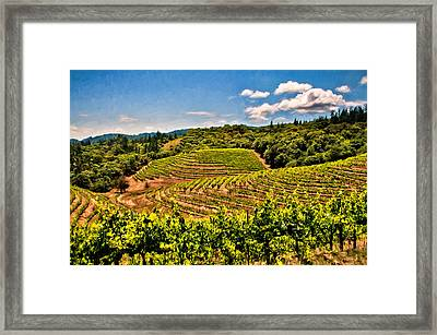 Terraced Vineyards Framed Print by John K Woodruff