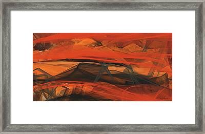 Terracotta Orange Modern Abstract Art Framed Print by Lourry Legarde