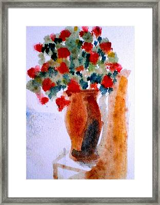 Terracotta Vase And Flowers Framed Print by Maria Rosaria DAlessio