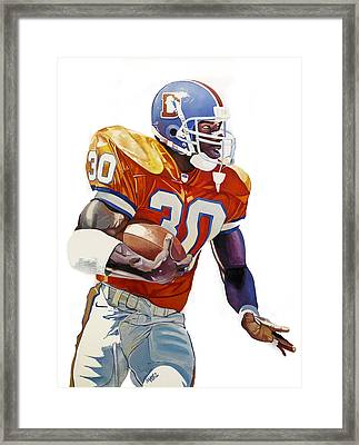 Terrell Davis - Denver Broncos  Framed Print by Michael Pattison