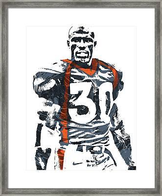 Terrell Davis Denver Broncos Pixel Art 2 Framed Print by Joe Hamilton