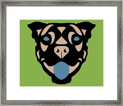 Terrier Terry - Dog Design - Greenery, Hazelnut, Niagara Blue Framed Print