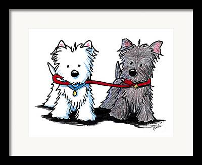 Terrier Dog Drawings Framed Prints