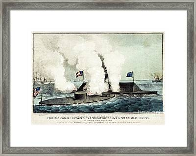 Terrific Combat Between The Monitor And The Merrimac Framed Print