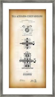 Tesla Alternating Current Patent Art 1891 Framed Print by Daniel Hagerman