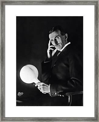 Tesla And Wireless Light Bulb Framed Print by Daniel Hagerman