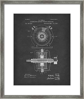 Tesla Generator 1891 Patent Art Black2 Framed Print