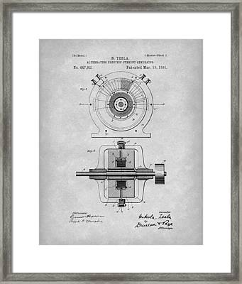 Tesla Generator 1891 Patent Art Grey Framed Print