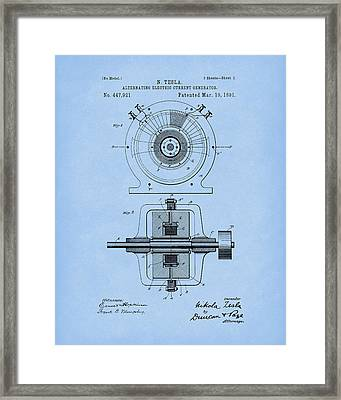 Tesla Generator 1891 Patent Art Light Blue Framed Print