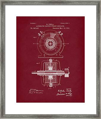 Tesla Generator 1891 Patent Art Red Dark Framed Print