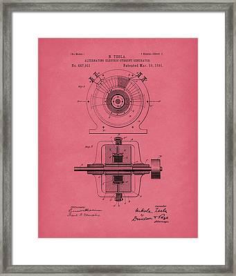 Tesla Generator 1891 Patent Art Red Framed Print