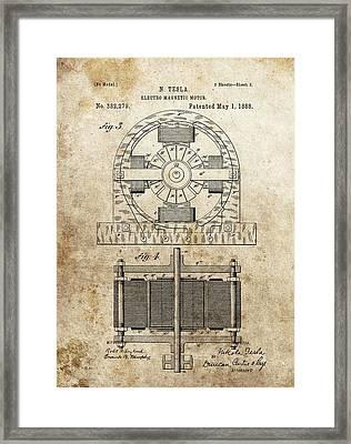 Tesla Magnetic Motor Patent Framed Print by Dan Sproul