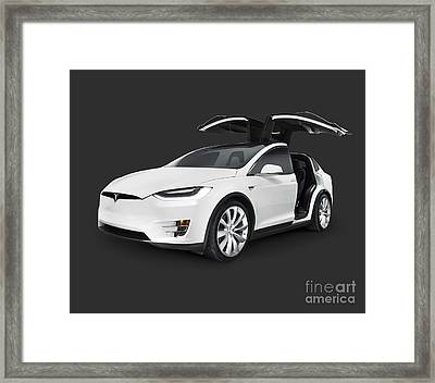 Tesla Model X Luxury Suv Electric Car With Open Falcon-wing Doors Art Photo Print Framed Print