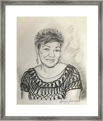 Framed Print featuring the drawing Tessie Guinto  by Rosencruz  Sumera