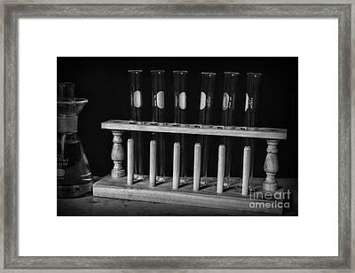 Test Tubes In Black And White Framed Print