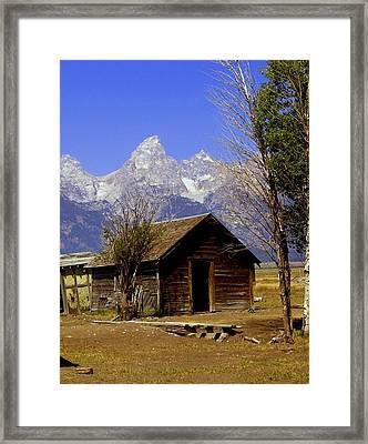 Teton Cabin Framed Print by Marty Koch