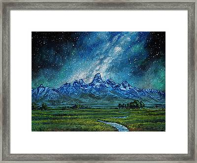 Framed Print featuring the painting Teton Milky Way by Aaron Spong