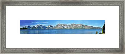 Teton Moonset Borderless Framed Print by Greg Norrell
