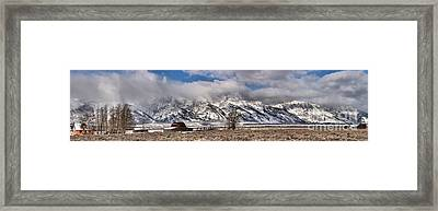 Framed Print featuring the photograph Teton Mormon Homestead Panorama by Adam Jewell