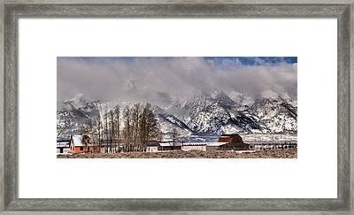 Framed Print featuring the photograph Teton Mormon Row Panorama by Adam Jewell