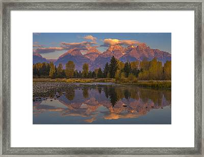 Teton Morning Mirror Framed Print by Joseph Rossbach