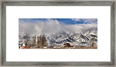 Framed Print featuring the photograph Teton Mountains Over Mormon Row by Adam Jewell