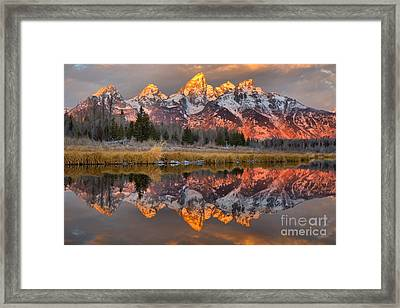 Teton Mountains Sunrise Rainbow Framed Print