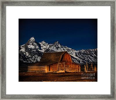 Teton Mountains With Barn Framed Print