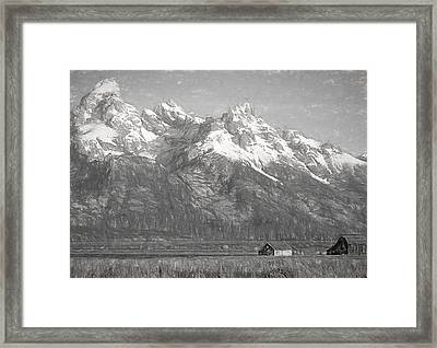 Teton Range Charcoal Sketch Framed Print