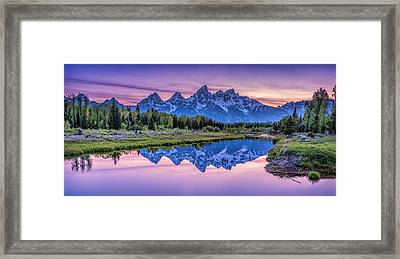 Sunset Teton Reflection Framed Print by Michael Ash