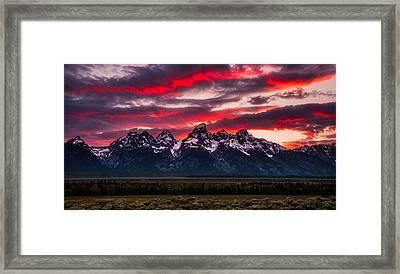 Teton Sunset Framed Print by Darren White