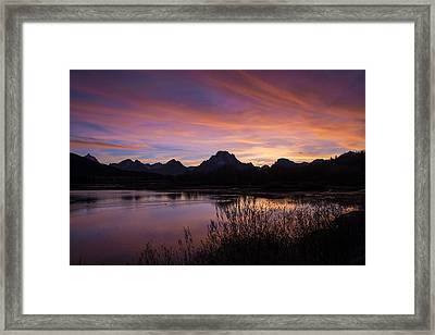 Framed Print featuring the photograph Teton Sunset by Gary Lengyel